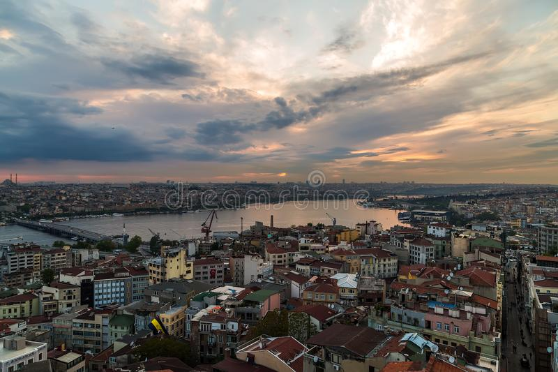 Cityscape of the Old Town, Panoramic view of Golden Horn from Ga stock photo