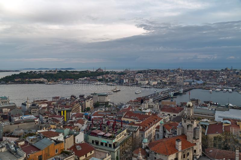 Cityscape of the Old Town, Panoramic view of Golden Horn from Ga royalty free stock photos