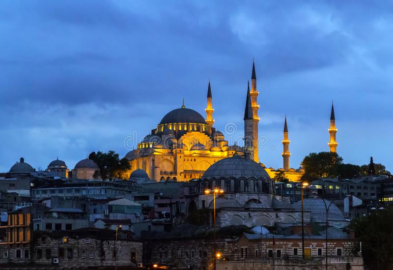 Cityscape of the Old Town, Panoramic view of Golden Horn from Ga stock photography