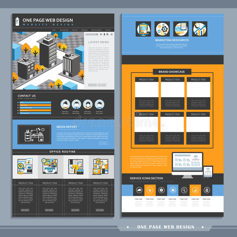 Cityscape one page website design template vector illustration