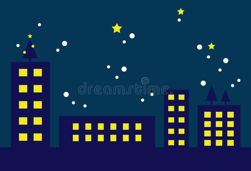 Cityscape op Kerstavond (i) stock illustratie
