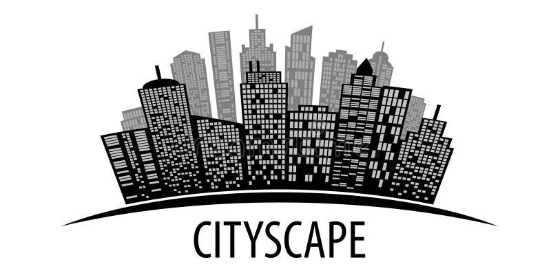 Cityscape op wit stock illustratie