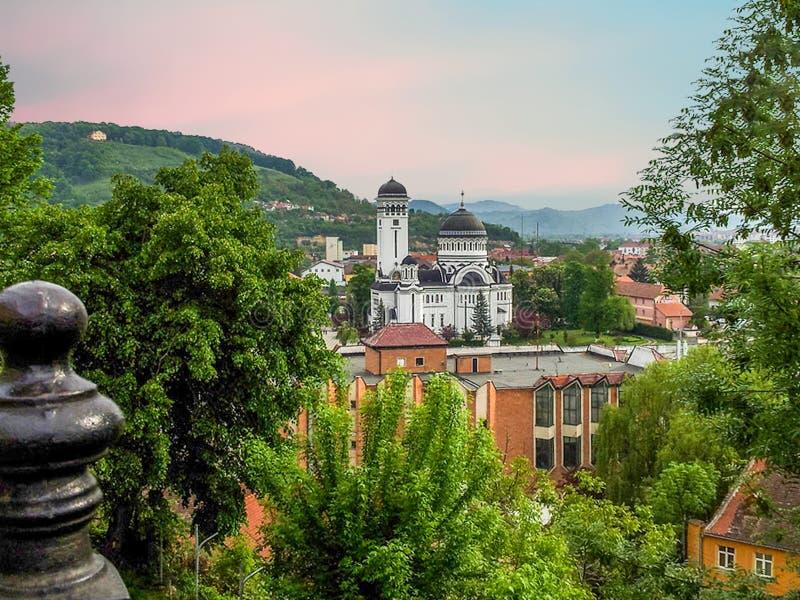 Cityscape Of Orthodox Church Sighisoara, Romania stock photography