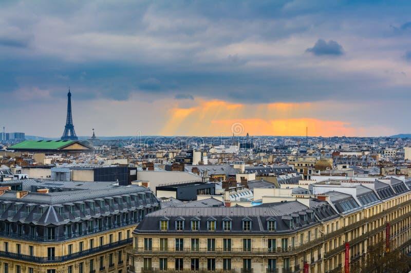 Cityscape over Paris at dusk stock photos