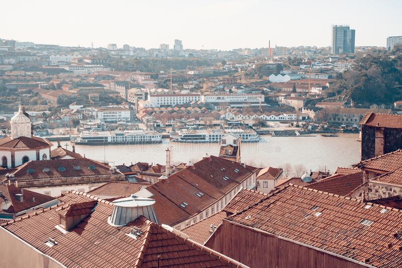 Cityscape overlook of Porto, Portugal and the Douro river on a sunny winter day.  stock photography