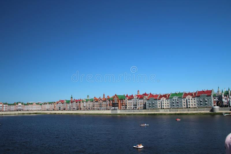 Cityscape overlooking the Bruges embankment in the city of Yoshkar-ola royalty free stock photos