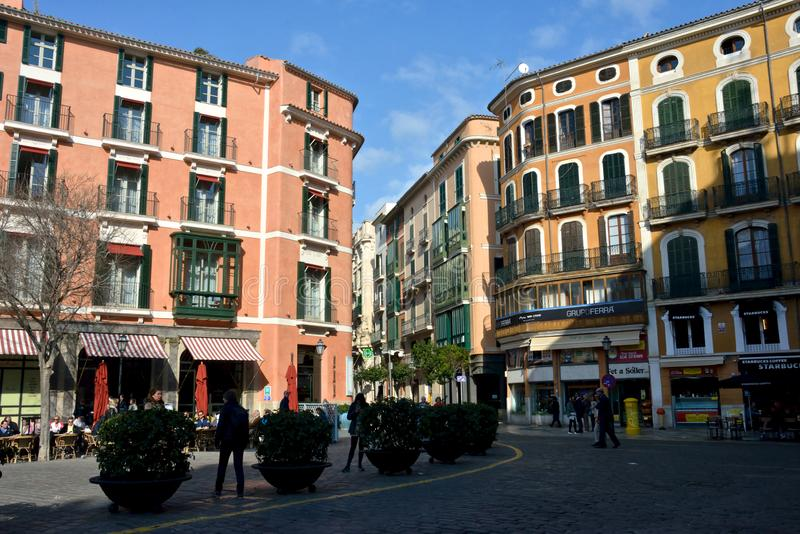 Cityscape in Palma de Mallorca with colored buildings stock images