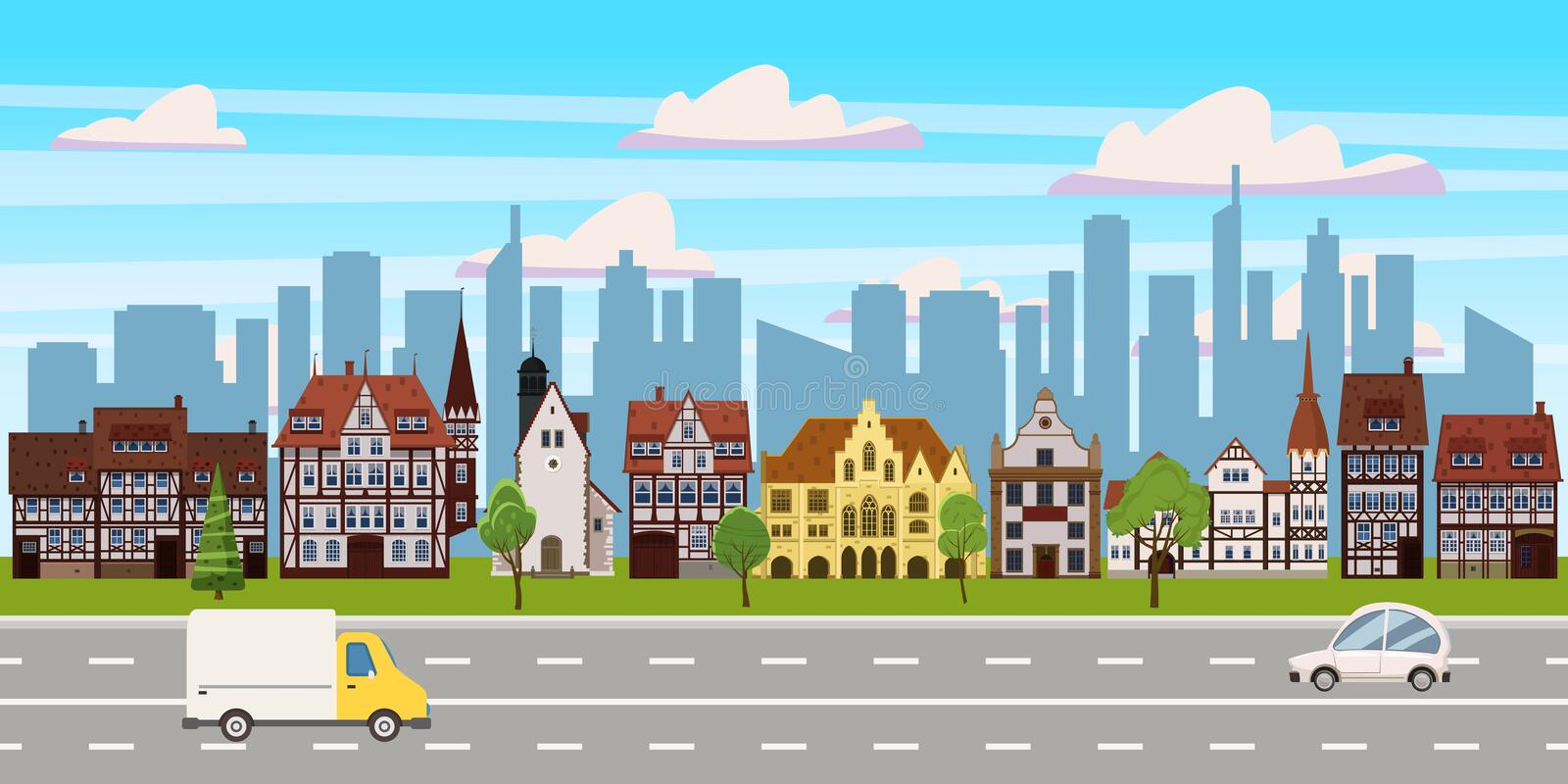 Cityscape, panorama horizontal view, old buildings architecture, skyscrapers modern buildings silhouettes in the stock illustration