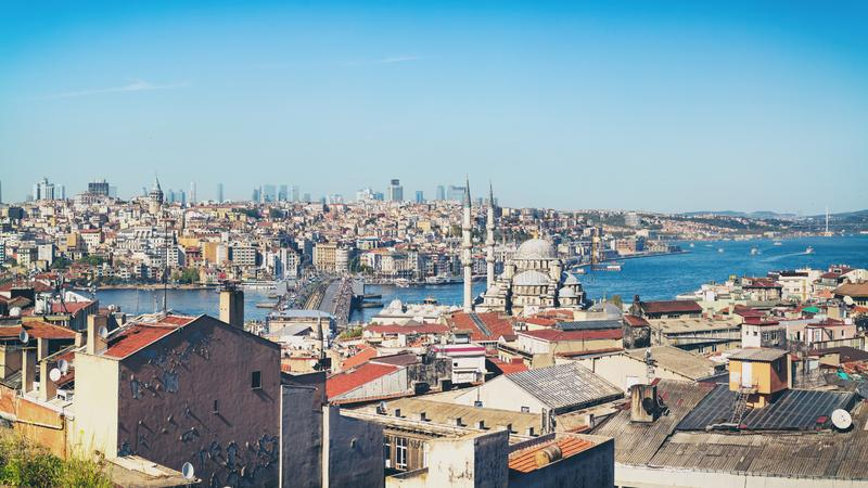 Panorama of Istanbul, Turkey. Cityscape panorama of Istanbul over Bosporus strait, Turkey royalty free stock images