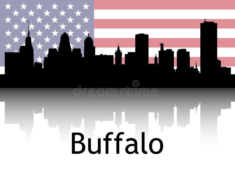 Cityscape Panorama Silhouette di Buffalo, Stati Uniti immagine stock libera da diritti