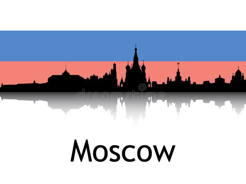 Cityscape Panorama Silhouette van Moskou, Rusland royalty-vrije stock fotografie