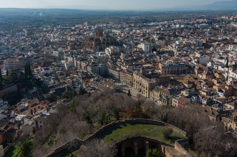 Cityscape Panoramamening van de oude stad van Granada van toren van Alham stock afbeelding