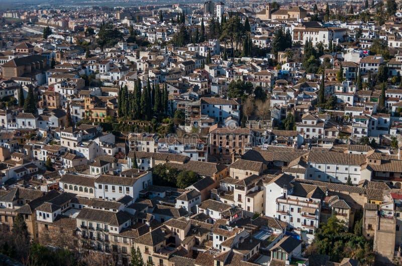 Cityscape Panoramamening van de oude stad van Granada van toren van Alham stock foto