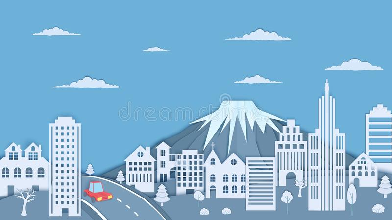 Cityscape in paper cut style. Mountain, forest landscape, skyscraper and 3d red car paper craft for concept design royalty free illustration