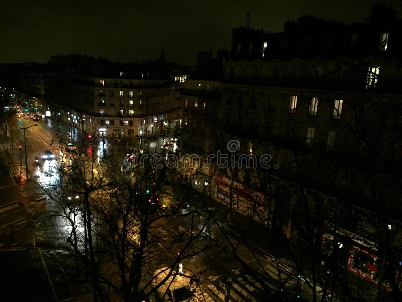 Cityscape of Paris by night royalty free stock photo