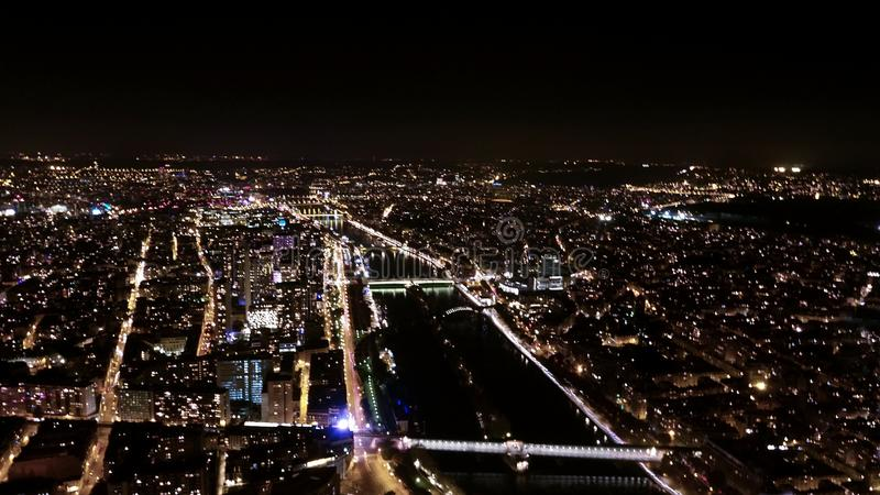 Cityscape. Paris at night long exposure stock photos