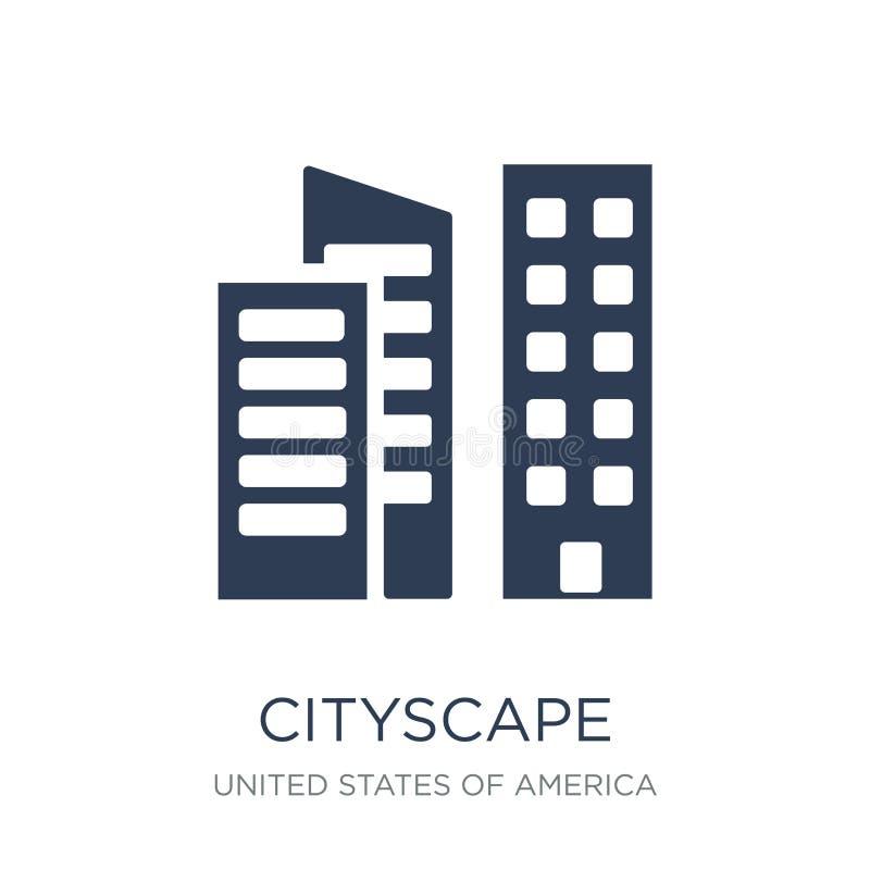 Cityscape pictogram In vlak vectorcityscape pictogram op witte backg royalty-vrije illustratie