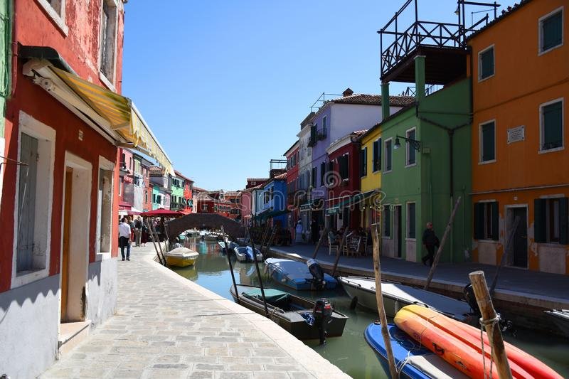 Cityscape pictures of the lovely, stunning, fresh, vibrant and super colorful picturesque Burano royalty free stock image