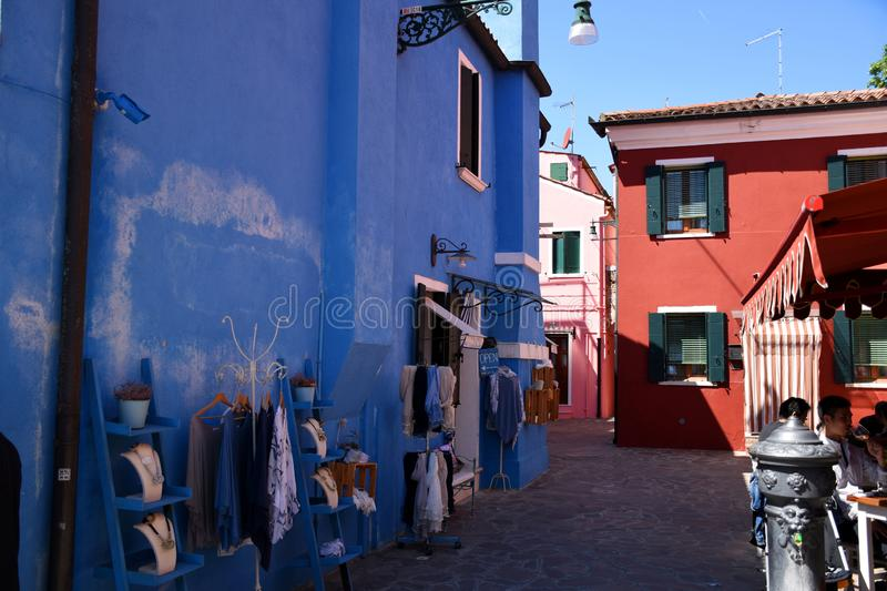 Cityscape pictures of the lovely, stunning, fresh, vibrant and super colorful picturesque Burano royalty free stock photo