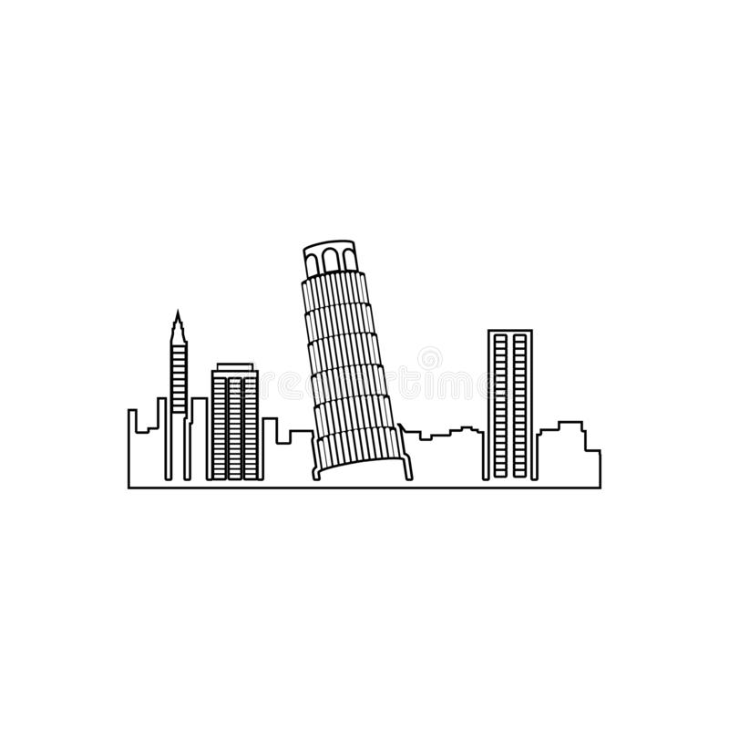cityscape Pisa icon. Element of Cityscape for mobile concept and web apps icon. Outline, thin line icon for website design and vector illustration