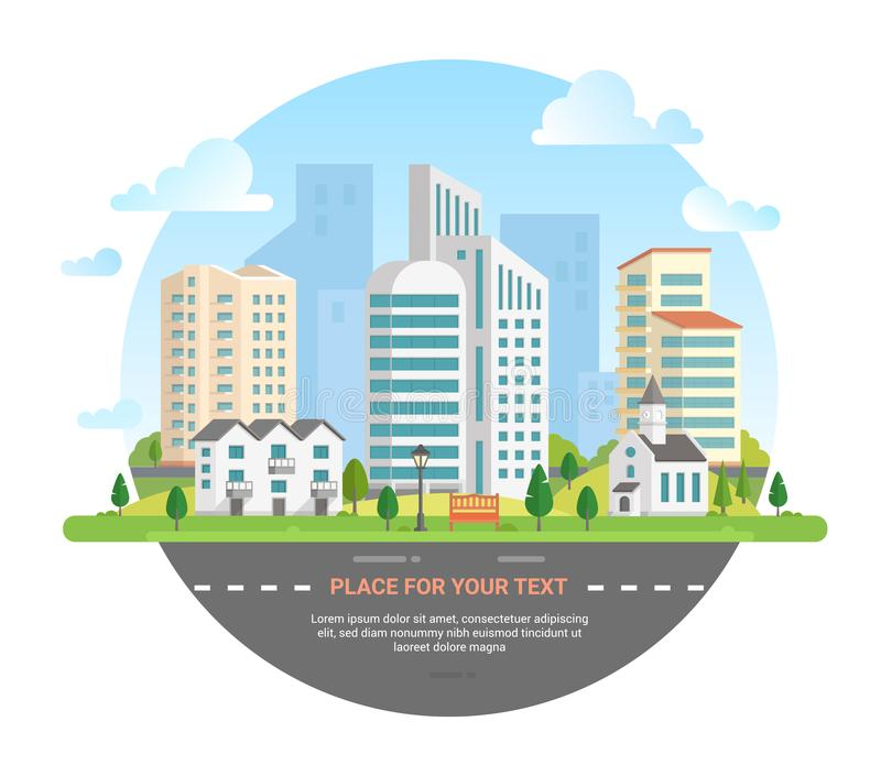 Cityscape with a place for text - modern vector illustration stock illustration