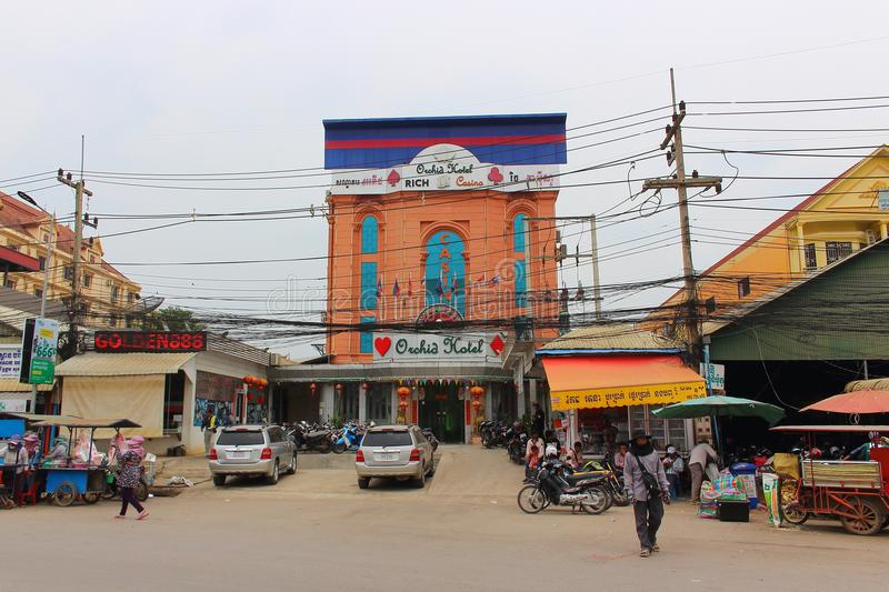 Cityscape of Poipet town stock image