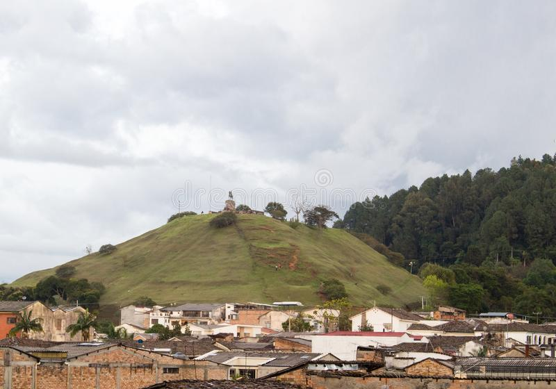 Cityscape of Popayan with Morro de Tulcán, Cauca, Colombia stock photo