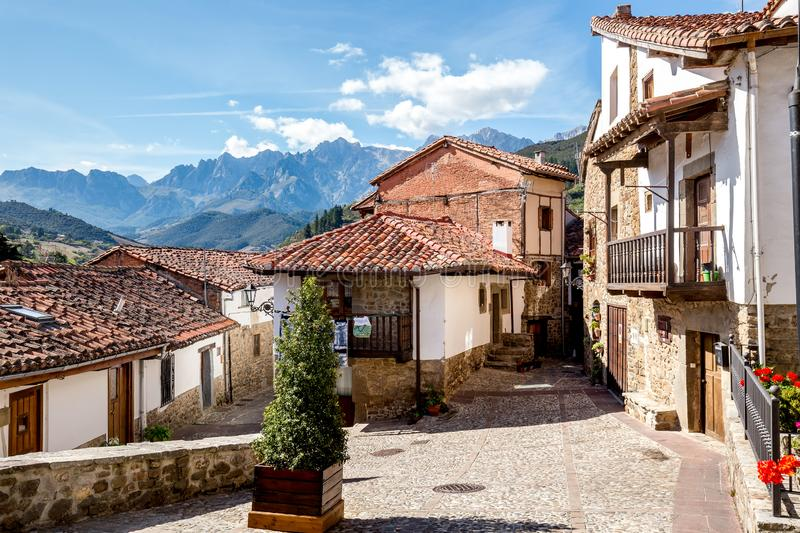 Cityscape of Potes, North Spain royalty free stock photo
