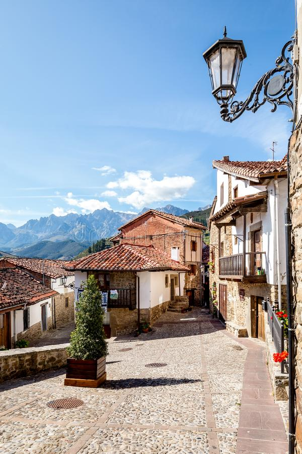 Cityscape of Potes, North Spain stock photo
