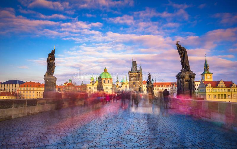 Famous Charles Bridge and tower, Prague, Czech Republic royalty free stock images