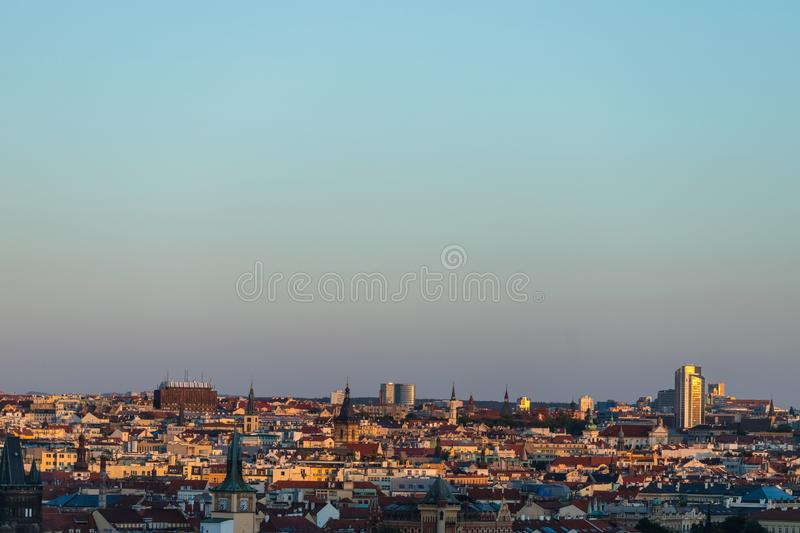 Cityscape of Prague, roofs of old town center stock photography