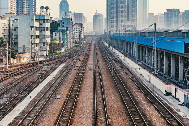 Cityscape and railway station at evening time. Shenzhen. stock photography