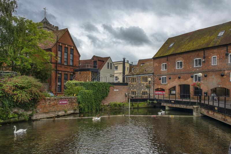 Cityscape with River Avon in Salisbury, England. SALISBURY, UNITED KINGDOM - August 03, 2015: cityscape with River Avon, Riverside Walk, the Maltings in royalty free stock images