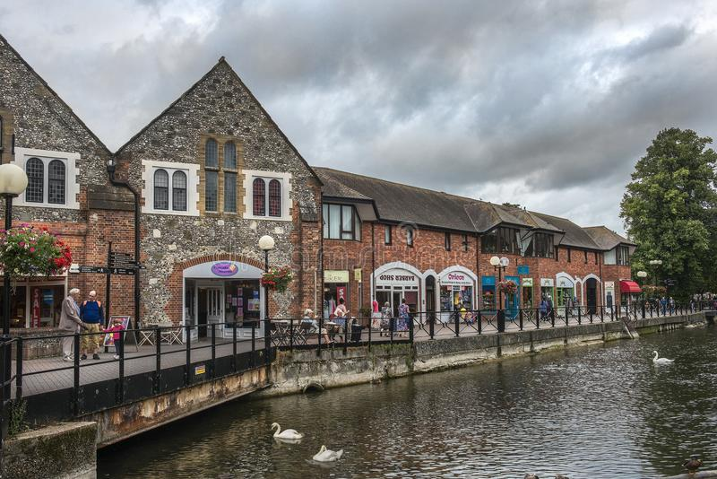 Cityscape with River Avon in Salisbury, England. SALISBURY, UNITED KINGDOM - August 03, 2015: cityscape with River Avon, Riverside Walk, the Maltings in royalty free stock photo