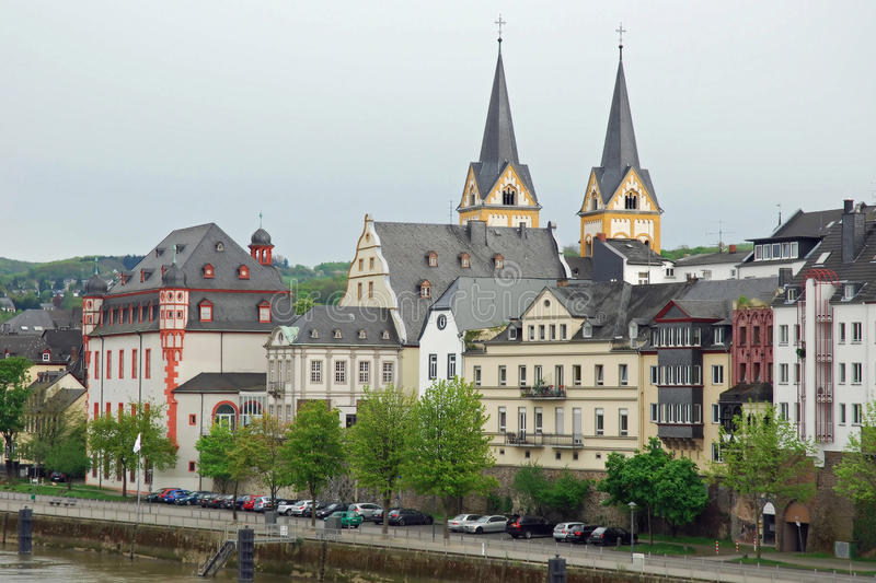 Coblenz, Cityscape from river Moselle, Germany royalty free stock photography
