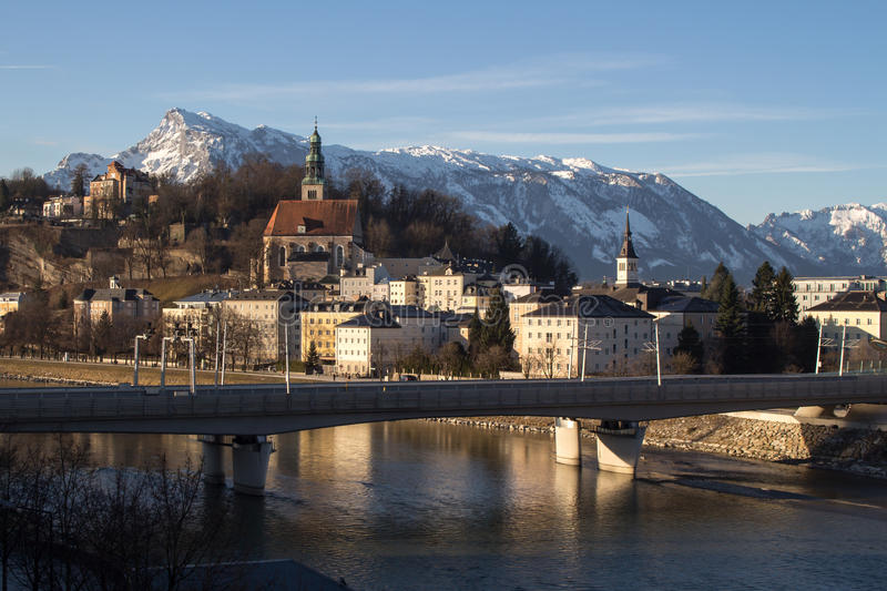 Cityscape at the river Salzach in Salzburg, Austria, 2015 stock images