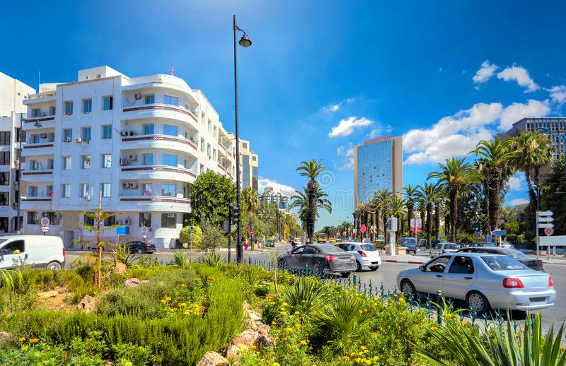 Road traffic and main street named Habiba Bourguiba with modern architecture. Tunis, Tunisia royalty free stock images