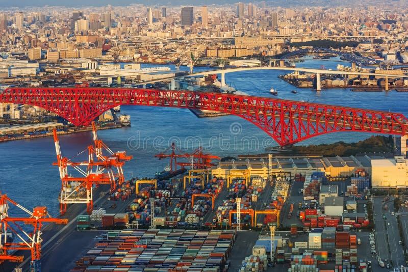 Cityscape rond Osaka Bay stock foto