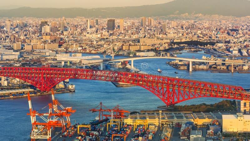 Cityscape rond Osaka Bay stock foto's