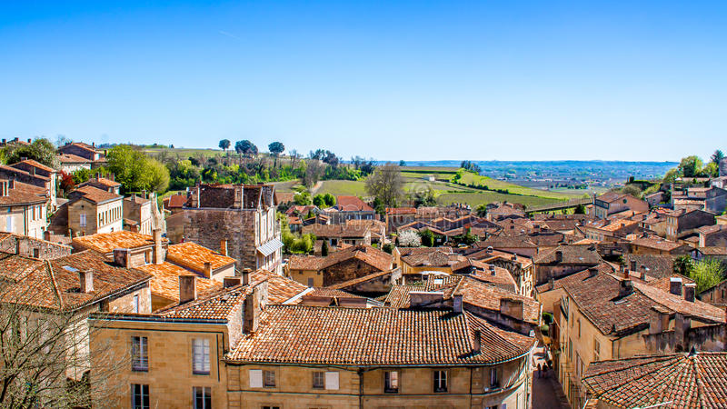 Cityscape of Saint-Emilion near Bordeaux, France. Cityscape of Saint-Emilion and the vineyard, near Bordeaux in France stock photos