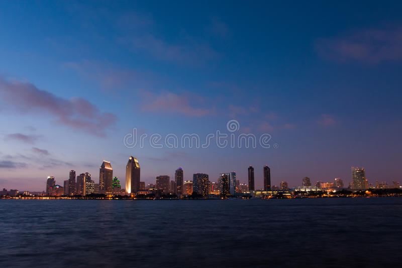 Cityscape of San Diego over water stock photography