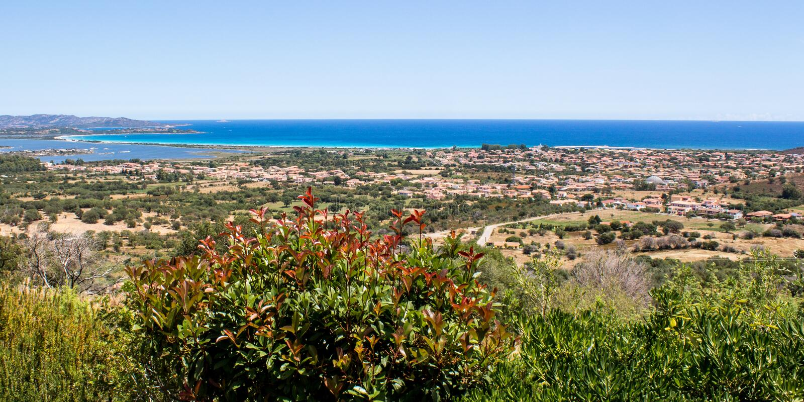 Cityscape of San Teodoro with a view of the coast in Sardinia, I royalty free stock image