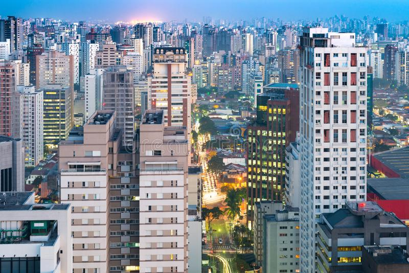 Cityscape of Sao Paulo at dusk, Brazil stock images