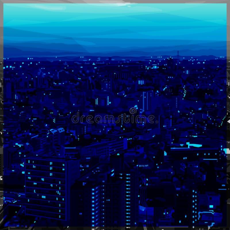 Cityscape schaduwen van blauw laag polyontwerp royalty-vrije stock afbeelding