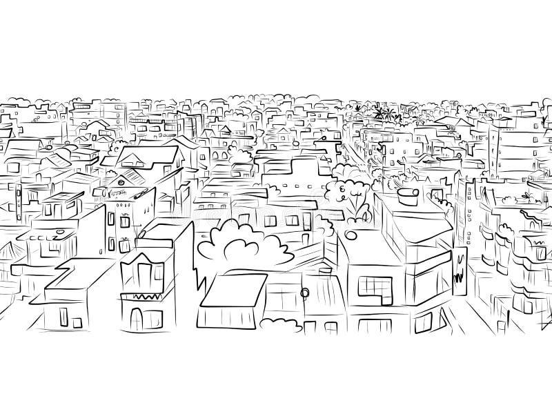 Cityscape schets, naadloos patroon voor uw ontwerp stock illustratie
