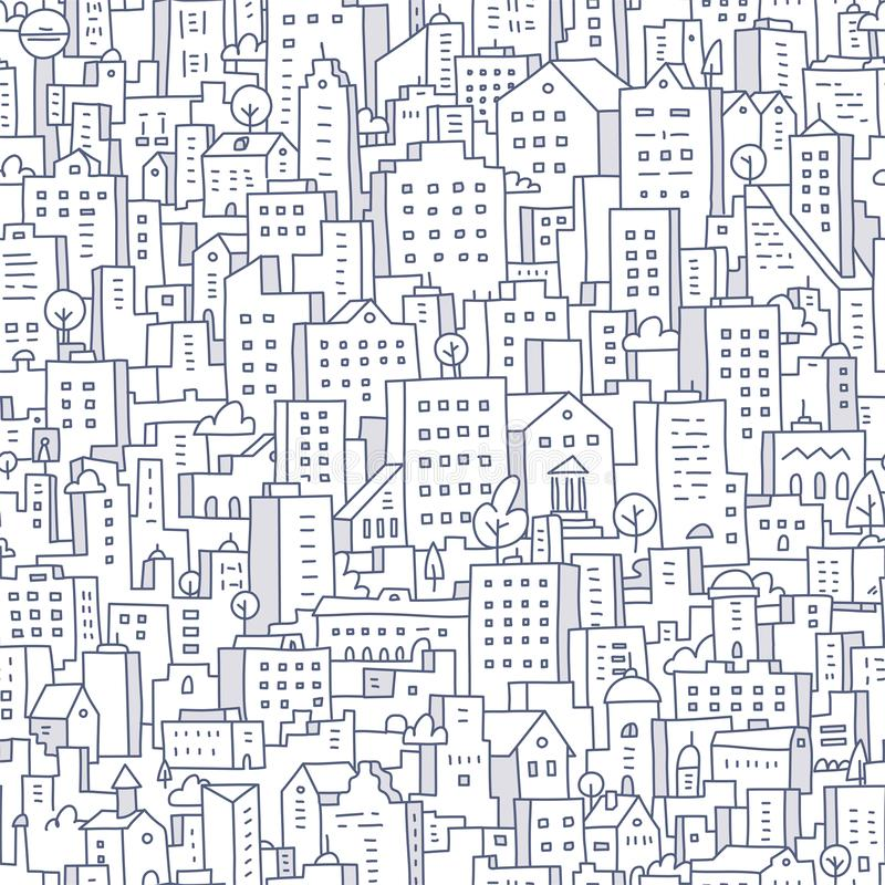Cityscape Seamless Doodle Pattern royalty free stock photography
