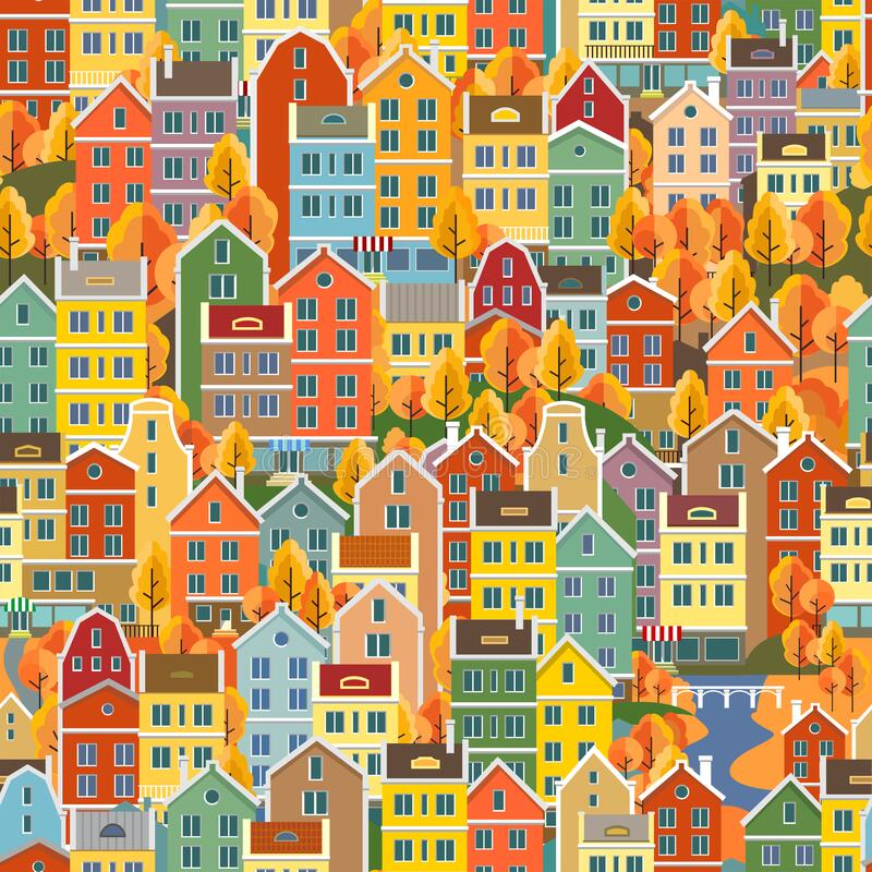 Free Cityscape Seamless Pattern With Buildings. Building, Residential. Seamless Pattern With Colorful Houses. Royalty Free Stock Photo - 213962645