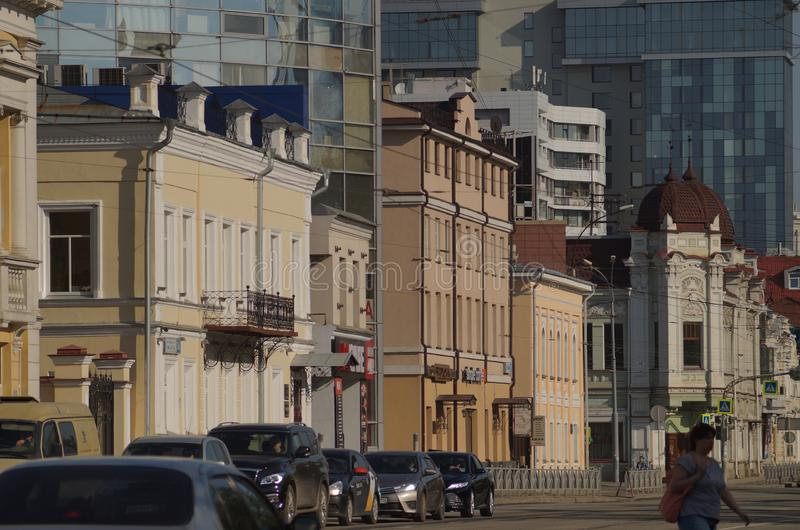 Cityscape. Section of the street on March 8 from the house number 36 to number 28. royalty free stock photo