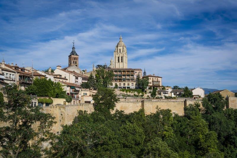 Cityscape Segovia, Castilla y Leon, Spanien arkivfoto