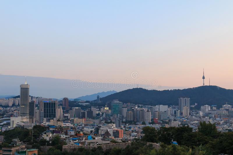 cityscape of Seoul with beautiful sunset, capital city of South Korea stock photography